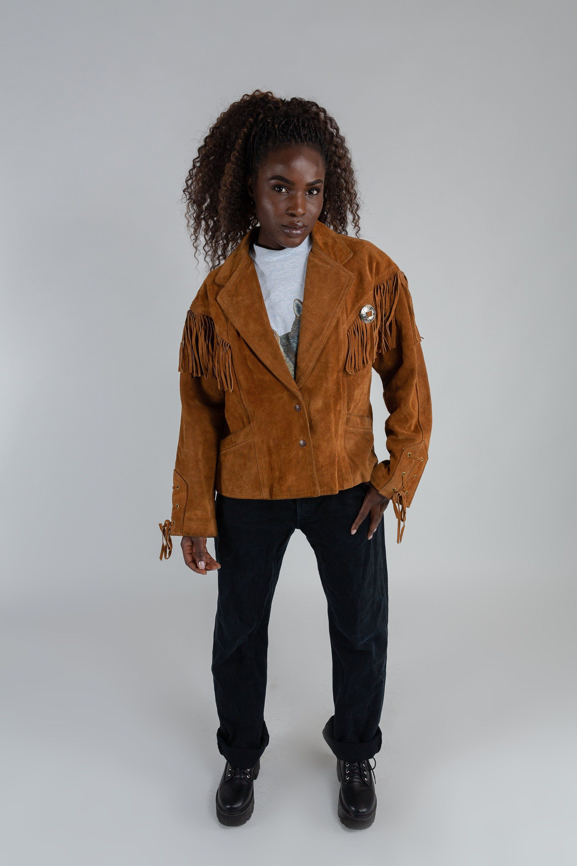 Vintage western fringe jacket / Schott Western suede