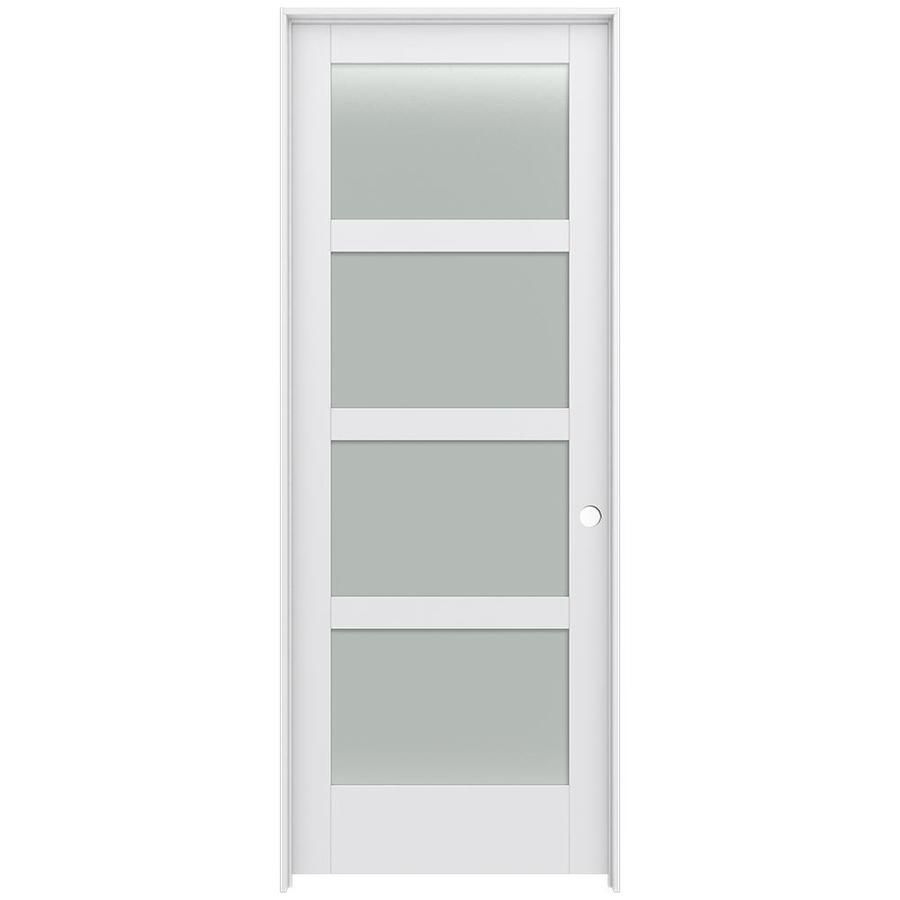 Jeld Wen Moda Primed 4 Panel Square Frosted Glass Wood Pine Single Prehung Door Common 36 In X 96 In Actual 37 562 Prehung Doors Frosted Glass Primed Doors