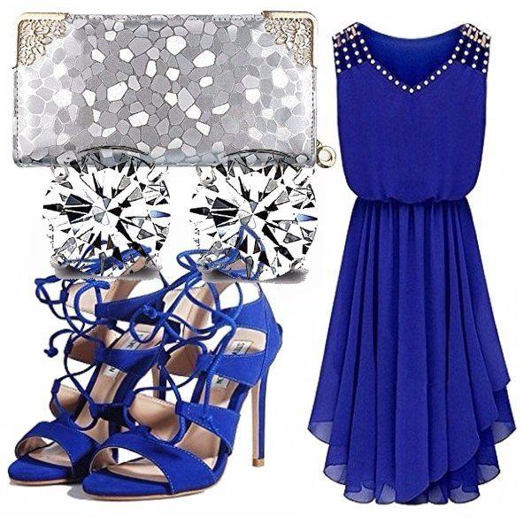 Vestito elegante da cerimonia blu elettrico con scollo a V e pietre ... 1fa22583927