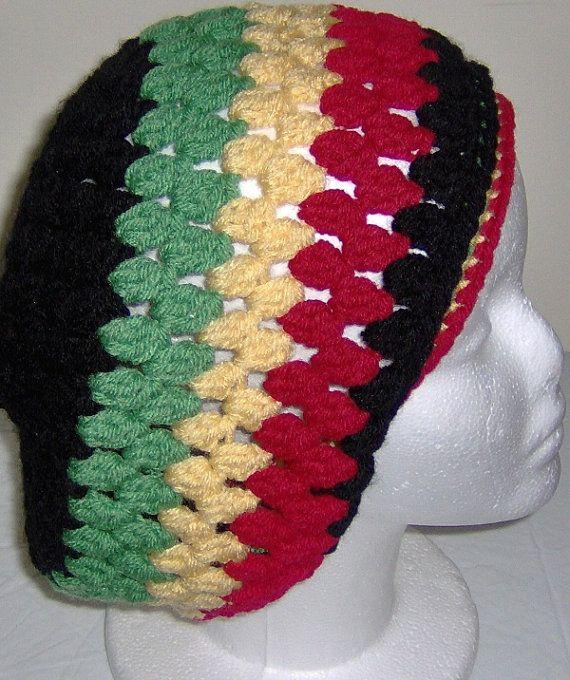 Crochet Rasta dread Tam, Rasta hat, Slouchy Rasta hat, dreadlocks ...