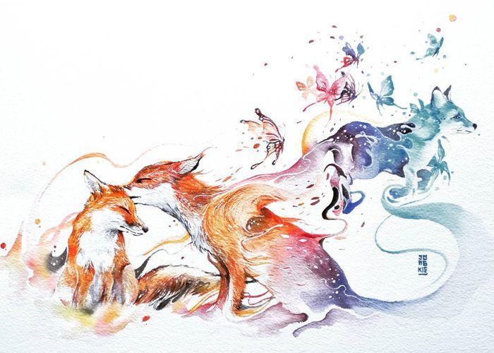 Este Artista Cria Aquarelas Magicas Com Lindos Animais Raposa