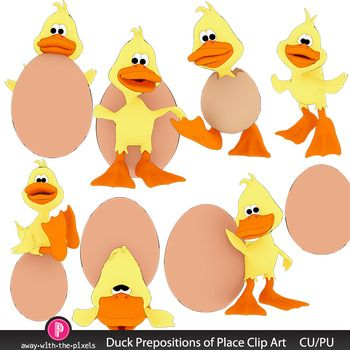 This Is A Set Of Clip Art Depicting Duck And Egg Demonstrating Prepositions Place