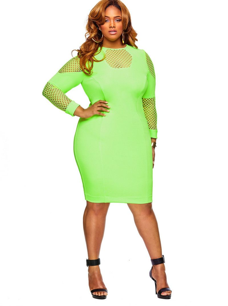 fb03b7dc7b8 Monif C Plus Sizes Spring 2014 Alice Dress in Neon Green on The Curvy  Fashionista