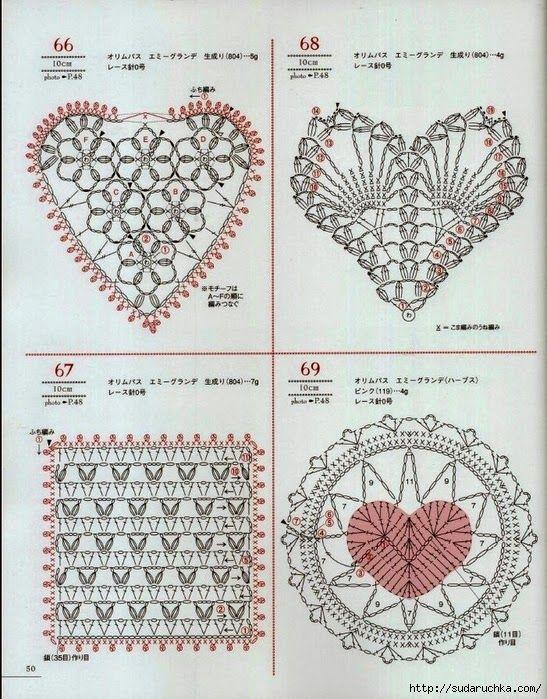 Crochet and arts: crochet Hearts motifs | Gehäkelte Herzen ...