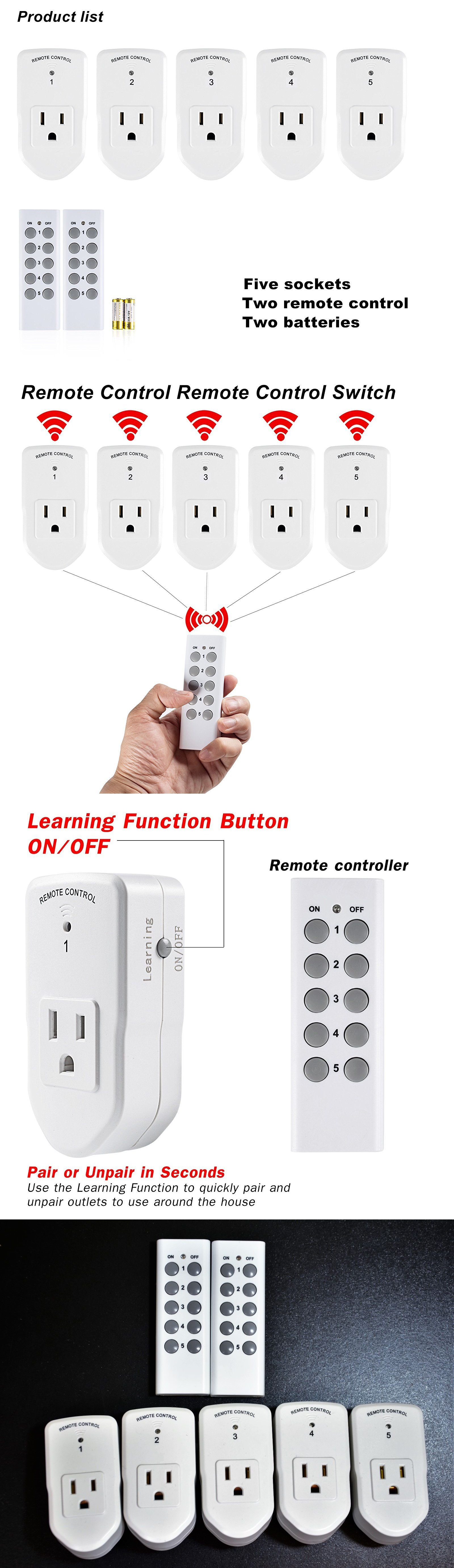 Home Automation Modules Century Wireless Remote Control Outlet Switch Two Lights Light Power 2 Plug In 5