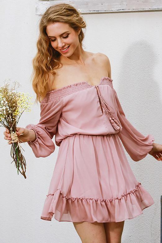 Chiffon Vintage Off Shoulder Long Sleeve Beach Summer Mini Dress ...