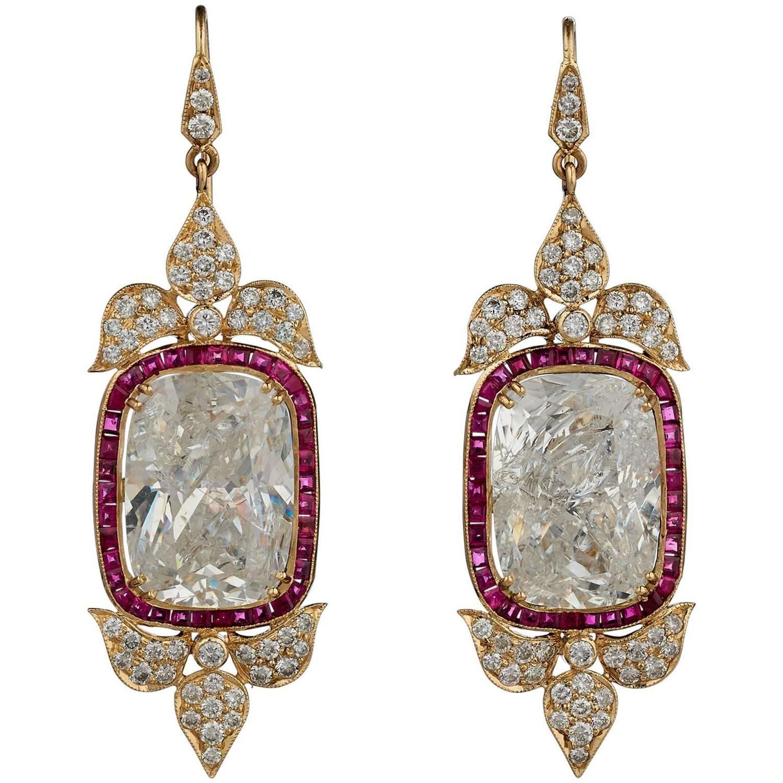 Indian Rock Crystal Ruby Diamond Gold Earrings  1