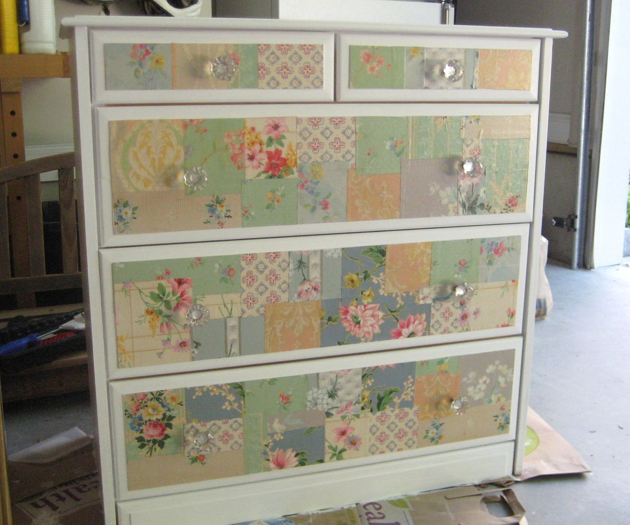 two vintage wallpaper furniture makeovers a patchwork