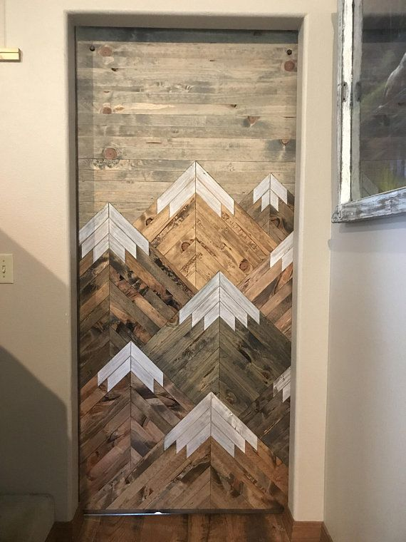 Photo of Rustic Wood Mountains Sliding Barn Door