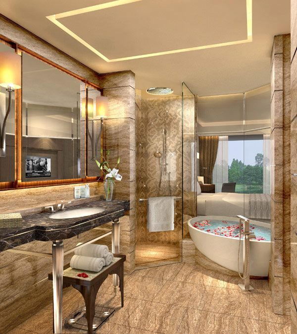 new kempinski ambience hotel displaying traditional indian patterns by hirsch bedner associates - Small Hotel Bathroom Design