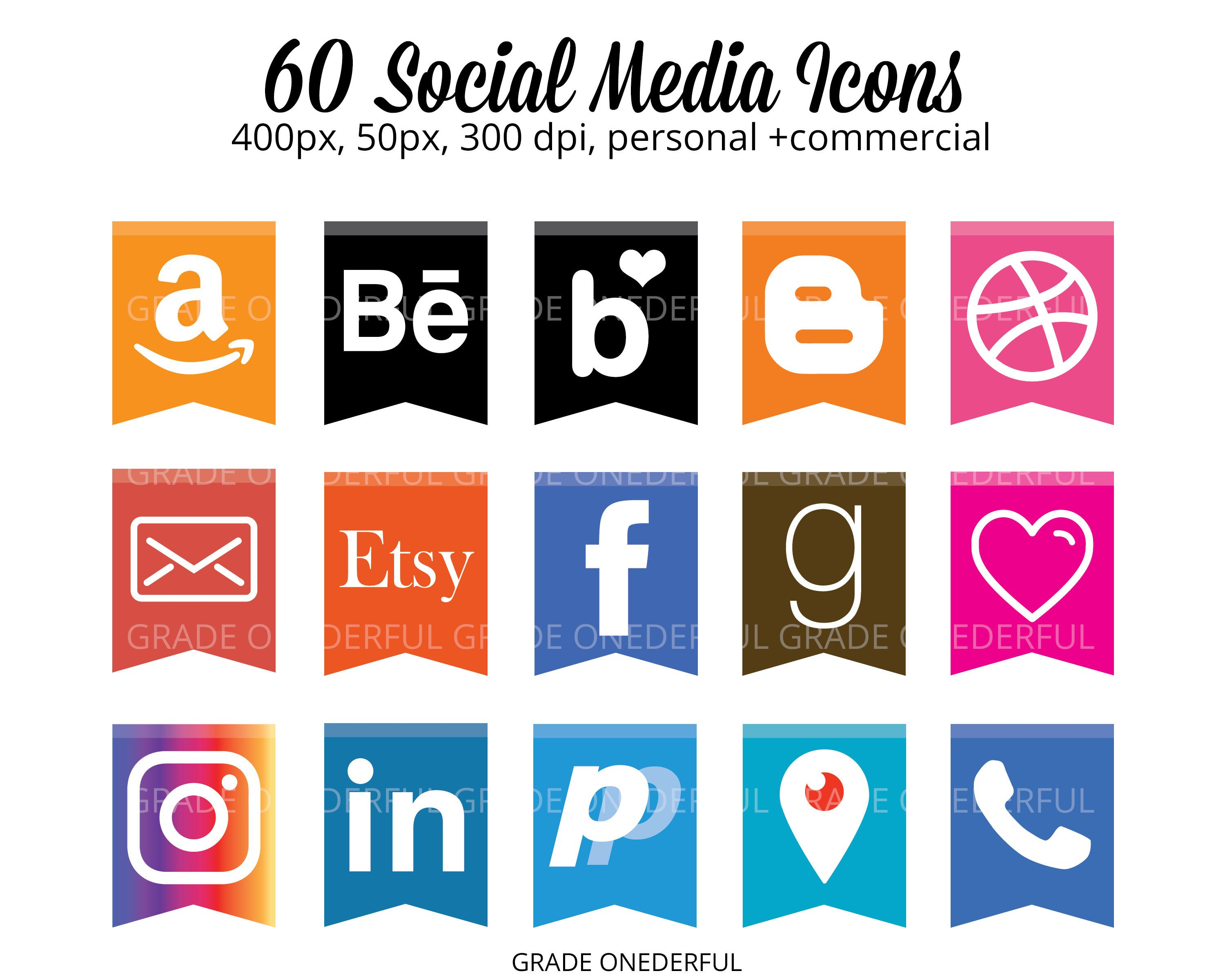 Social Media Icons Instant Download Social Media Icons on