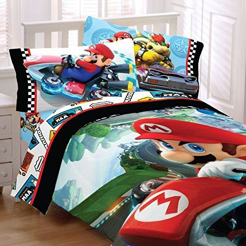 4pc Nintendo Super Mario Kart Twin Bedding Set Road Rumble Racing
