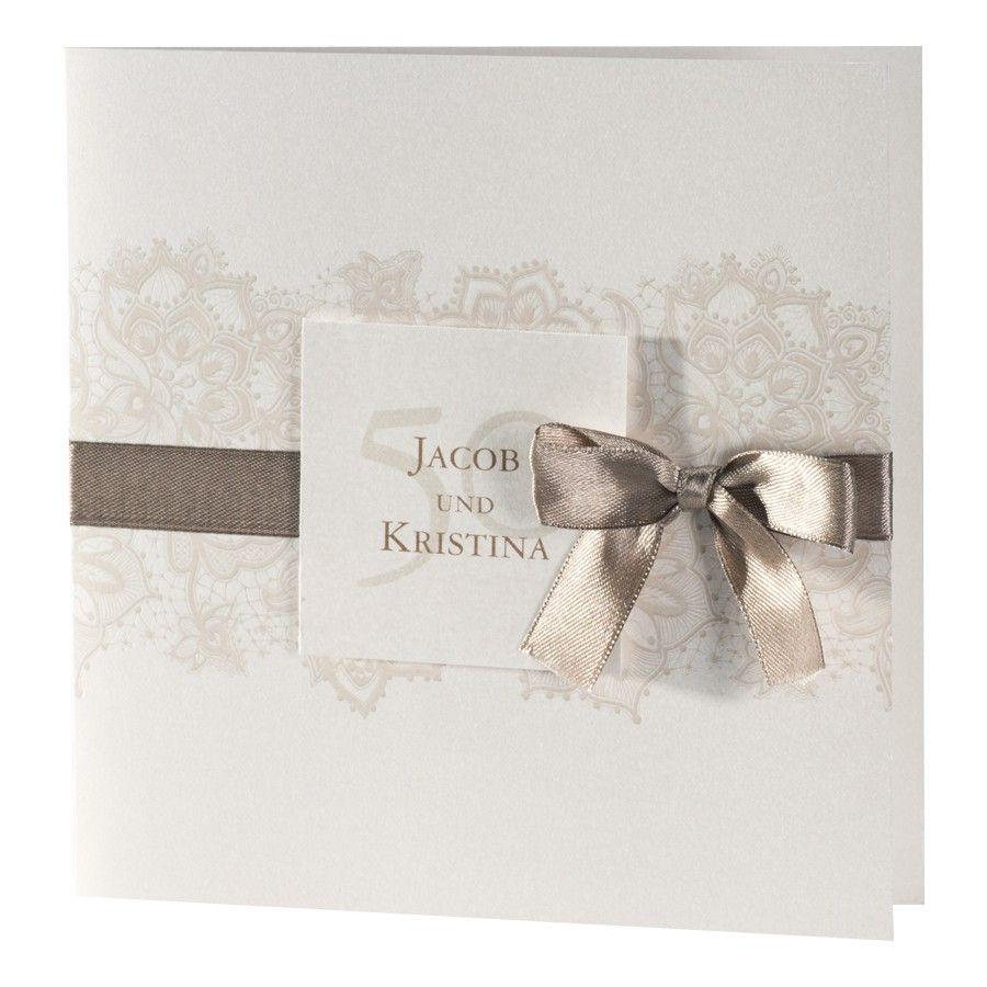 Einladungskarte Für Jubiläum Perlmutt Metallic Mit Ornament