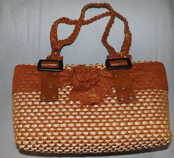 5e04459088 Fal is coming! Burnt Orange Abaca Twine Weave Hand Bag by ...