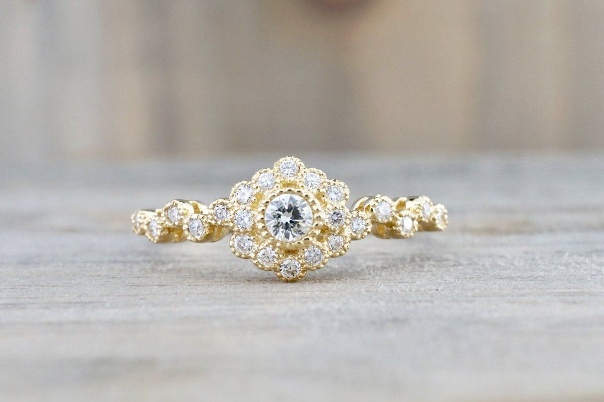 Vermont 14k Yellow Gold Clic Diamond Engagement Wedding Promise Vintage Cute Ring Band Arch Shaped