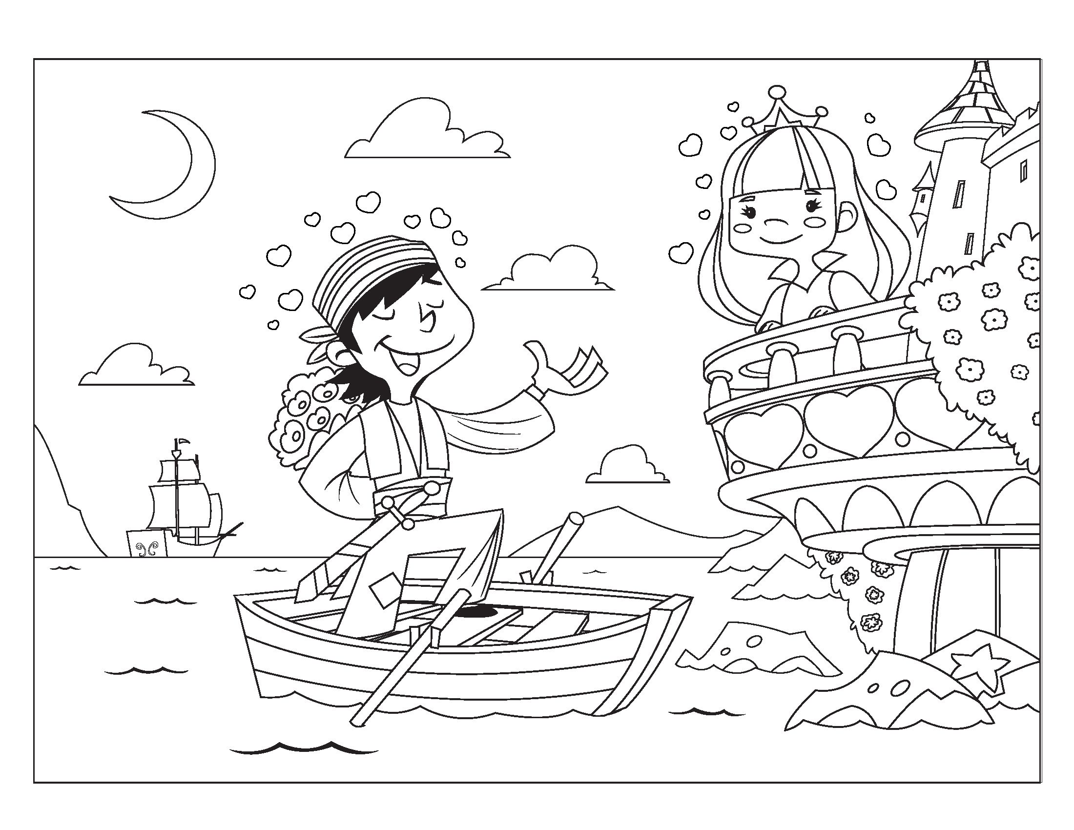 Coloring Page Pirate Princess Jpg 2200 1700 Pirate