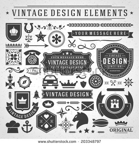 Vintage Vector Design Elements Retro Style Golden Typographic Labels Tags Badges Stamps Arrows And Emblems Set Stock Vector Retro Vector Free