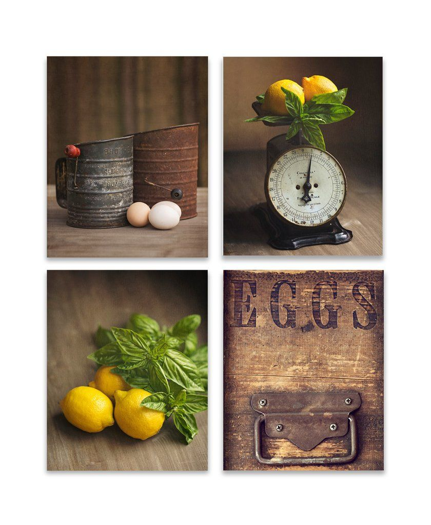 Brown and yellow wall art set of four rustic kitchen