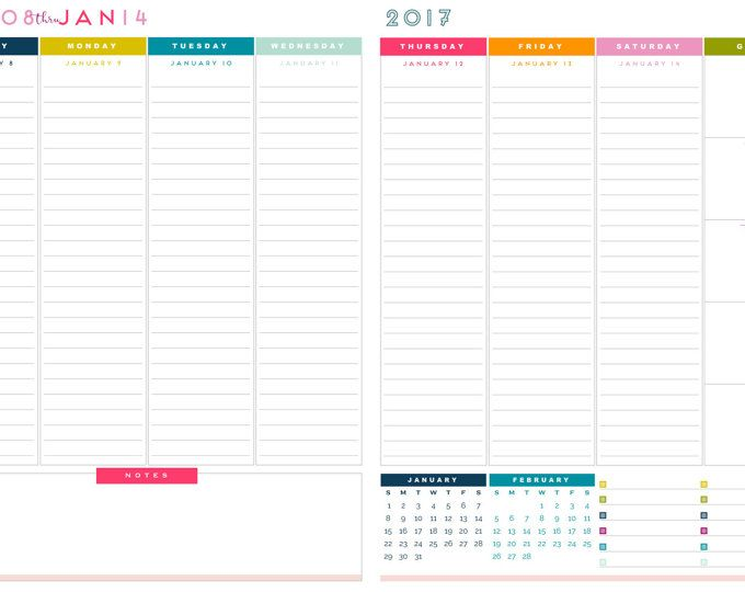 2017 Letter Size Weekly Planner Printable Pages - INSTANT DOWNLOAD - sample monthly budget template