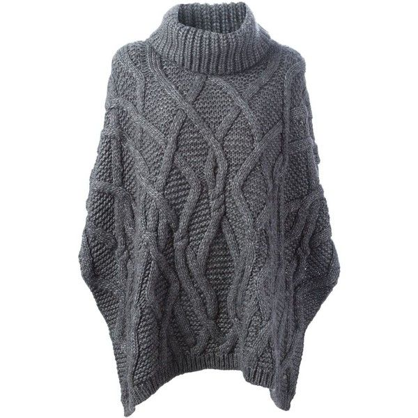 WOOLRICH Cable Knit Poncho (1,880 CNY) ❤ liked on Polyvore featuring outerwear, woolrich, cable knit poncho, grey poncho and cable poncho