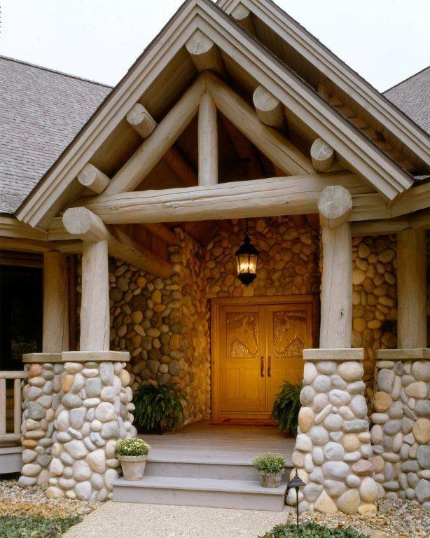 Stone And White Cedar Truss Entryway Log Homes Log