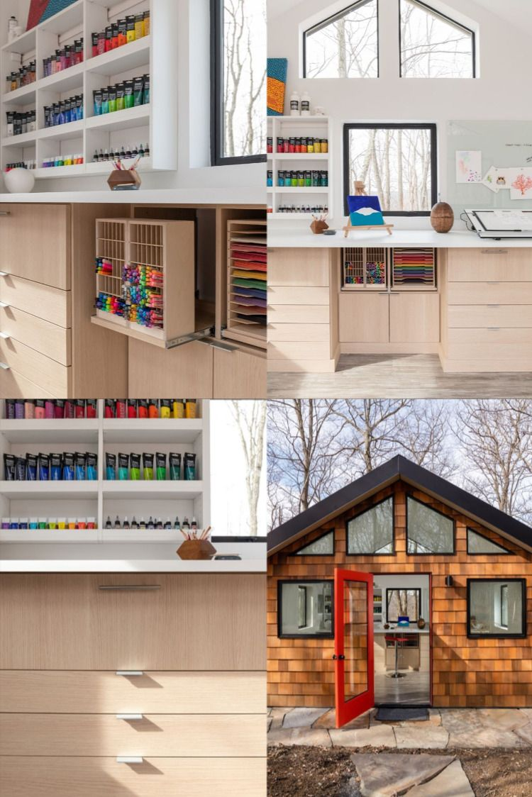 Whether you're an aspiring artist or a family needing a dedicated space for expressive fun - an efficient, fully-functional art room may be the perfect addition to your home. This adorable art shed designed by @marilena_caliclosets of @caliclosetsnyc is perfectly tailored to fit the unique needs of her client. #artstudio #artspace #creativespace