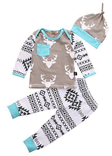 24b938c8b0c9 Newborn Baby Girls Boy Deer Long Sleeve Tops Tshirt Pants Hat 3pcs ...