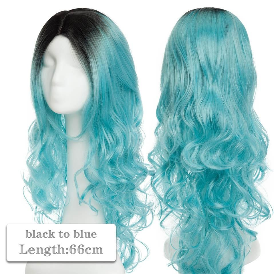 Photo of 60~80cm Cosplay Wig Long Wig Middle Part Hair Wig Cosplay Natural Wavy Heat Resistant Synthetic Wigs – black to blue / 60-80CM / CHINA