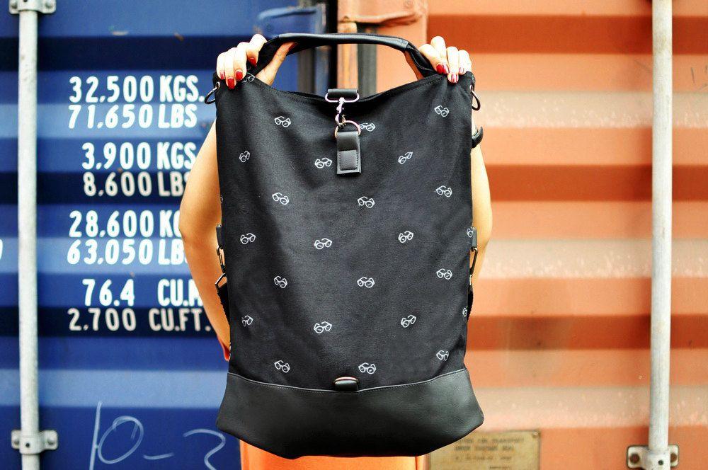 Black Messenger Bag Men Big Purse Oversize Handbag Shoulder Large Backpack Glass Screenprint. $58.00, via Etsy.