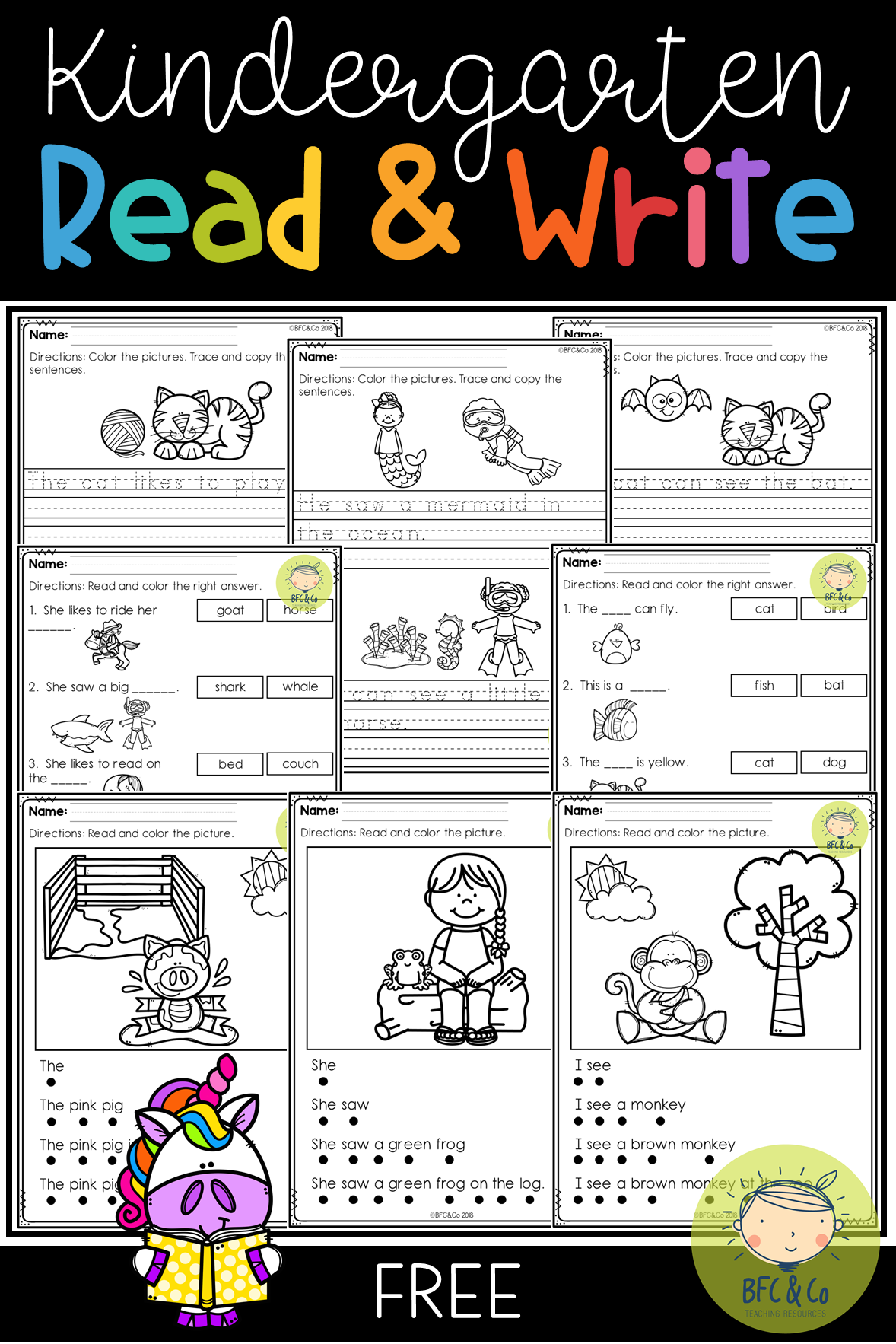 Kindergarten Read And Write Freebie