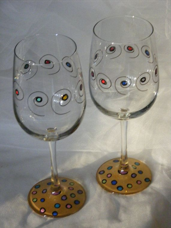 Polka Dot Wine Glasses Large 18oz Size Gold By Delightfulfinds