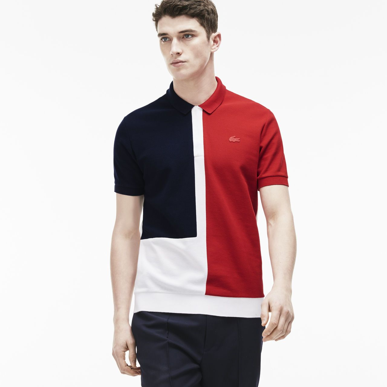0d7588582fcc1 Lacoste France Fashion show zippered polo in color block noppe piqué ...