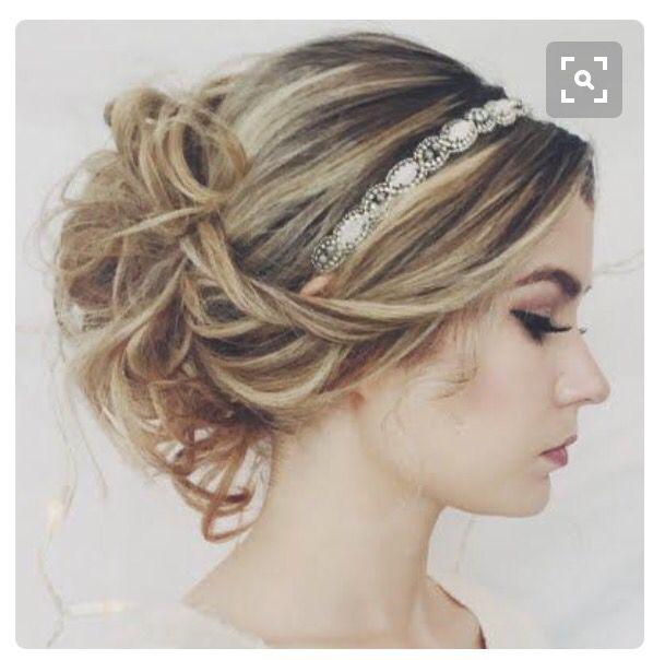 Updo With Headband Headband Hairstyles Hair Styles Long Hair Styles