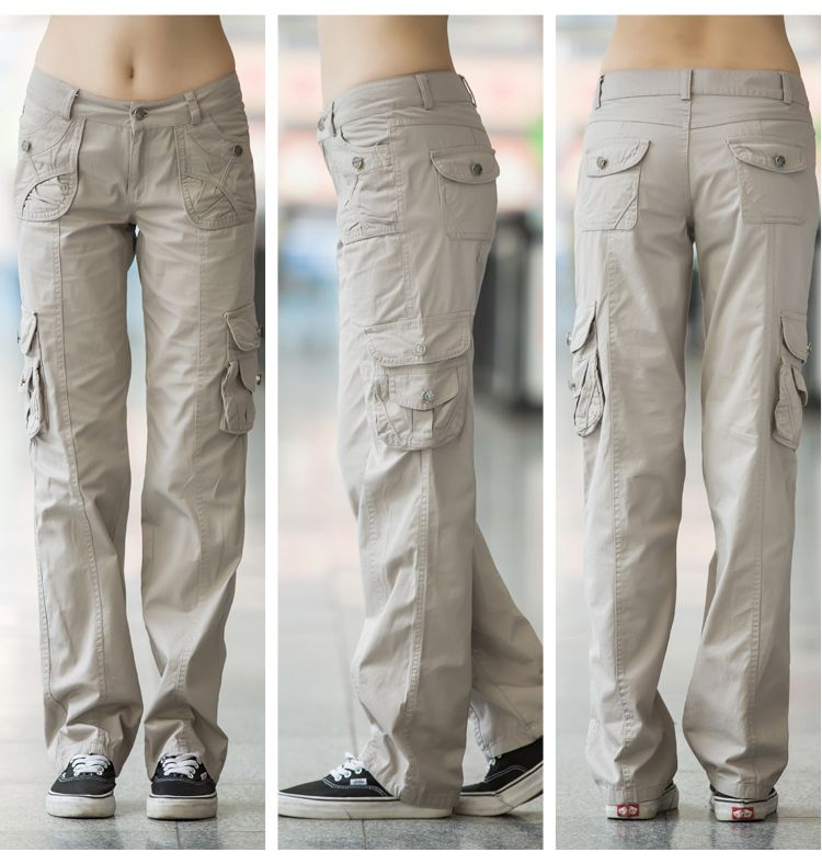 Aliexpress.com  Comprar Pantalones color caqui de Las Mujeres 2017 Del Verano  Bolsillos Pantalón 49a97e190c3e