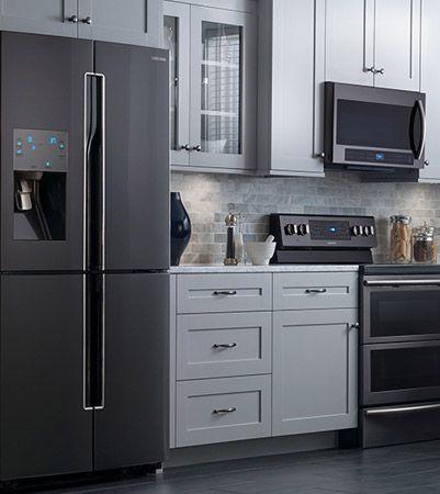 Related Image White Kitchen Black Appliances Black Appliances
