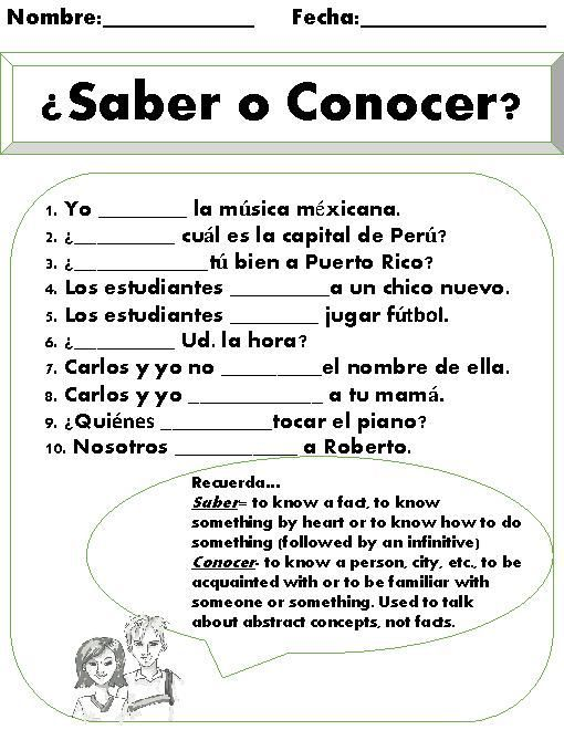 Saber vs. Conocer Worksheet. This is a great short practice once ...