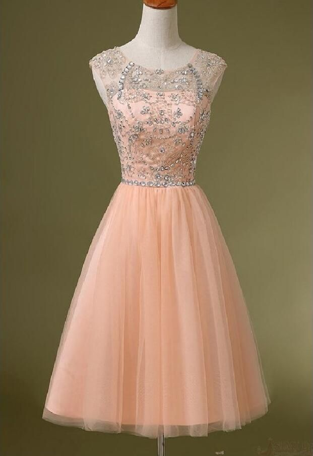 Peach Beaded Homecoming Dress See Through Short