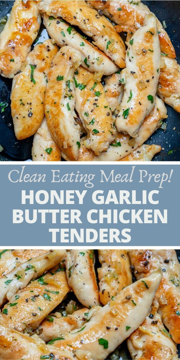 Honey Garlic Butter Chicken Tenders for Clean Eating Meal Prep! #crockpotmealprep