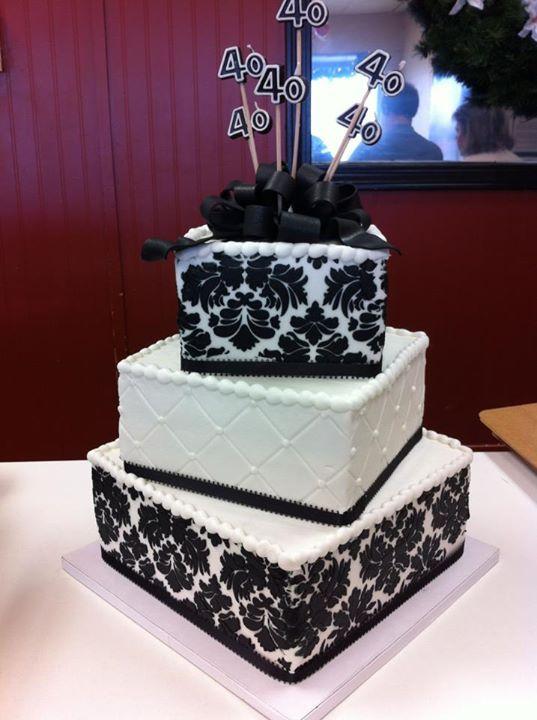 Black and White Damask Cake - HomeStyle Bakery, Nashville, TN ...