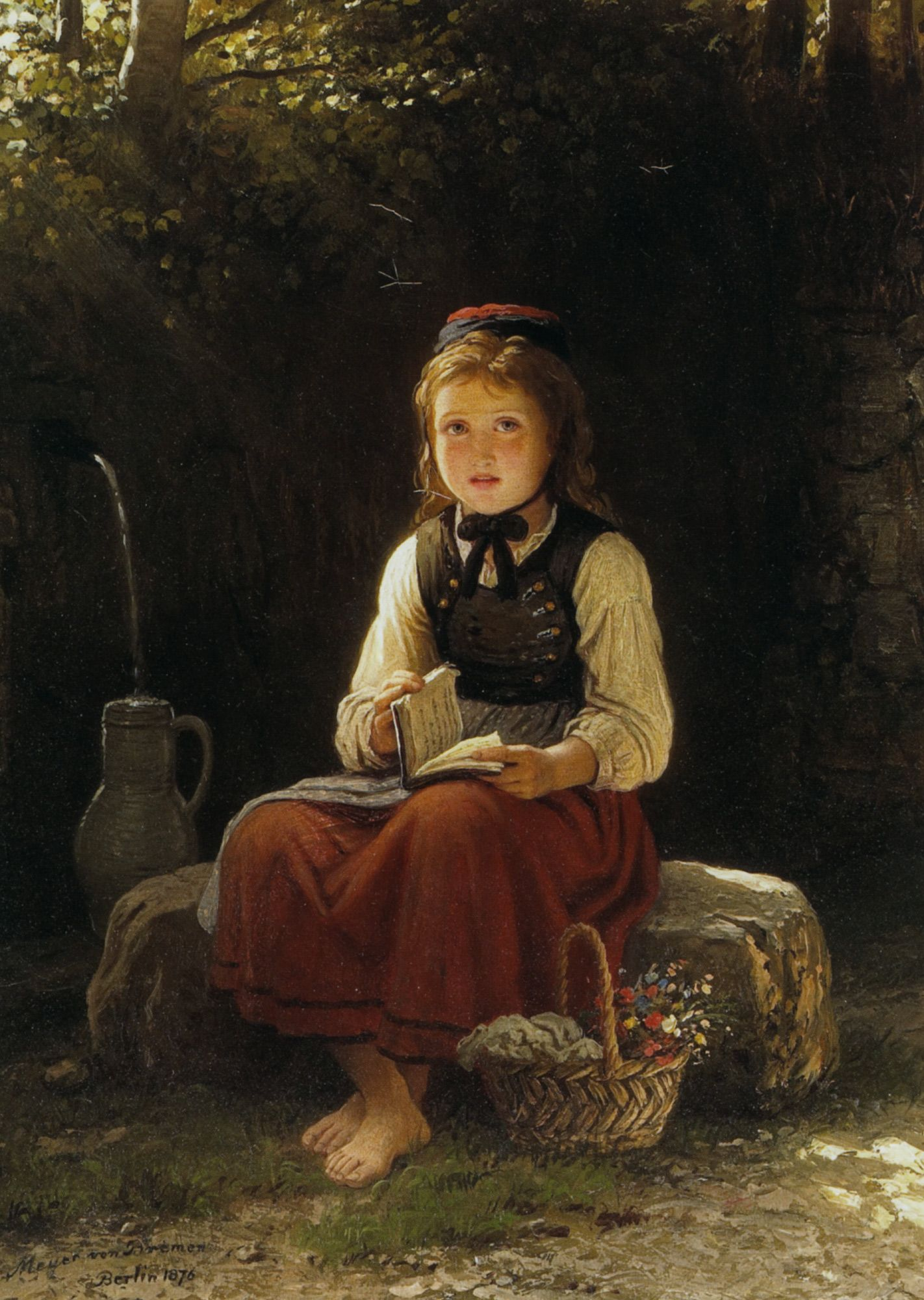 Johann Georg Meyer von Bremen (1813-1886) Young Girl at the Well     Oil On Canvas -1876