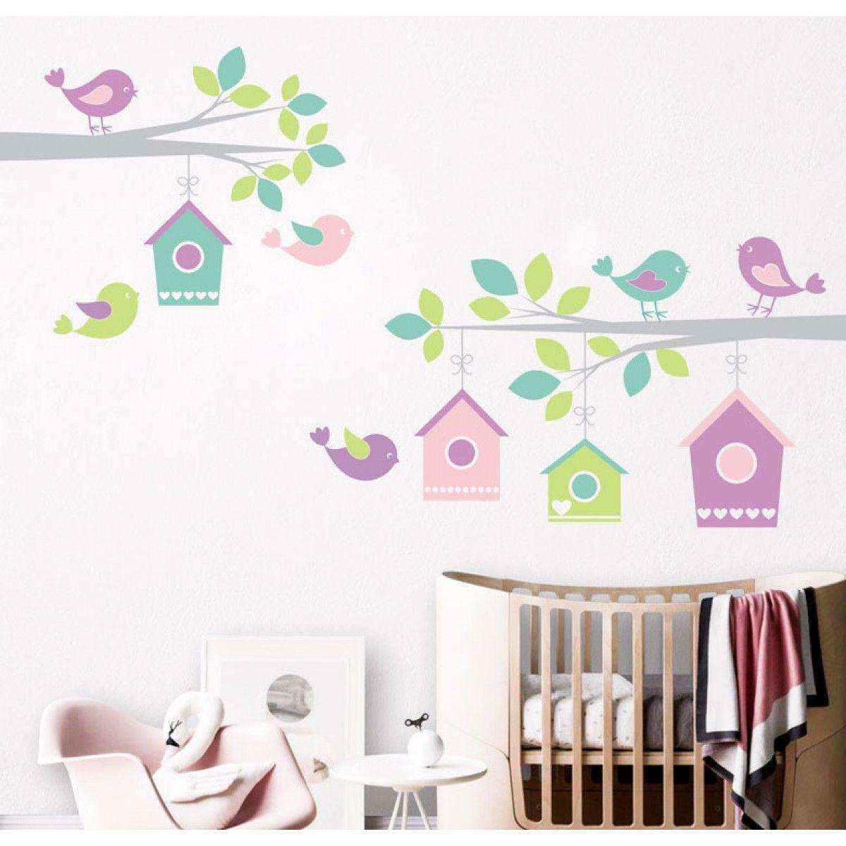 vinilo-habitacion-bebe-ramas-pajaros-casa | Olga | Pinterest ...