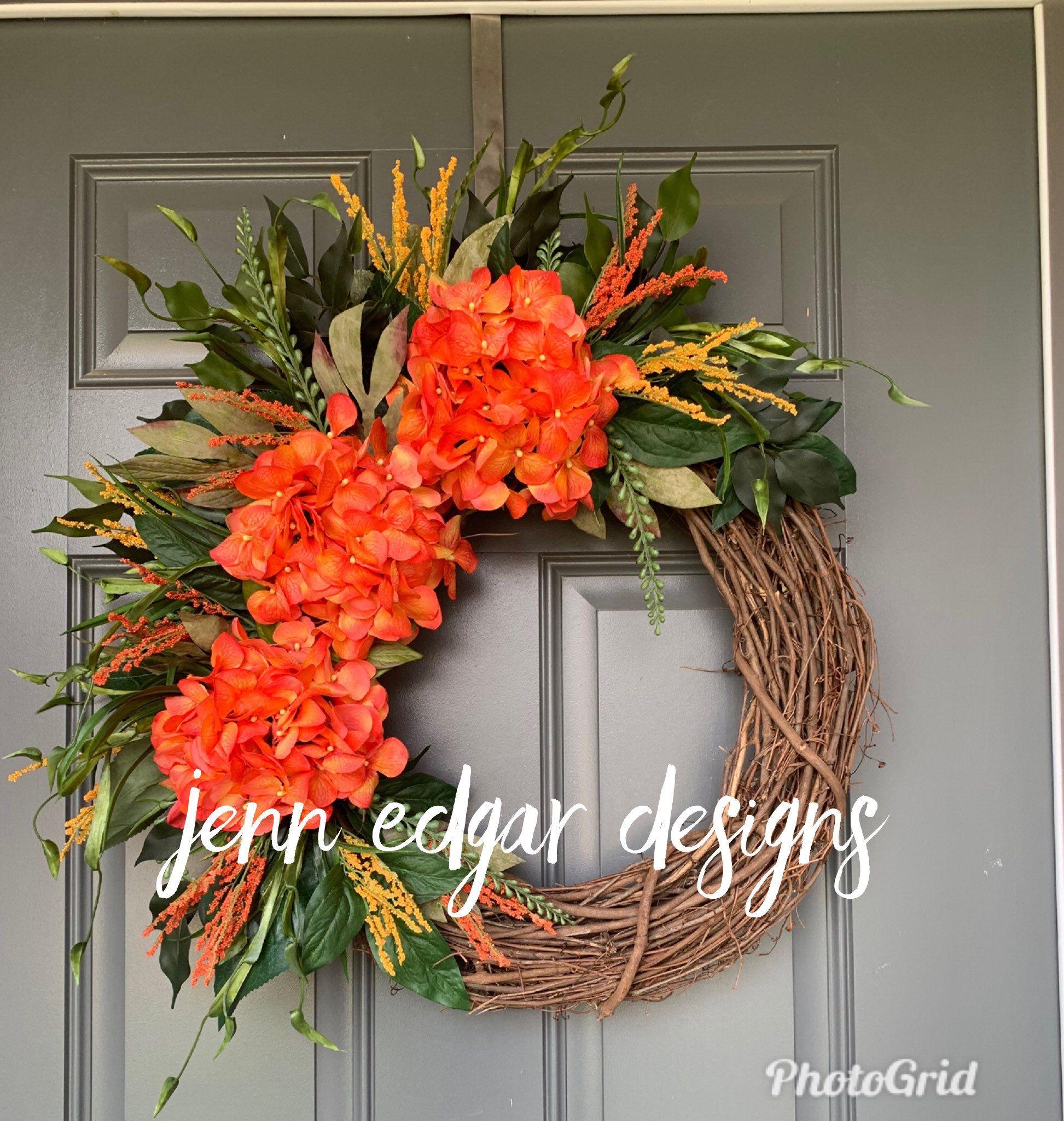 Photo of Summer Wreaths for Front Door, Summer Wreath, Hydrangea wreath, wreaths for front door, year round wreaths for front door