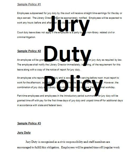 Standard Form Contracts Jury Duty Policy Doc Contracts