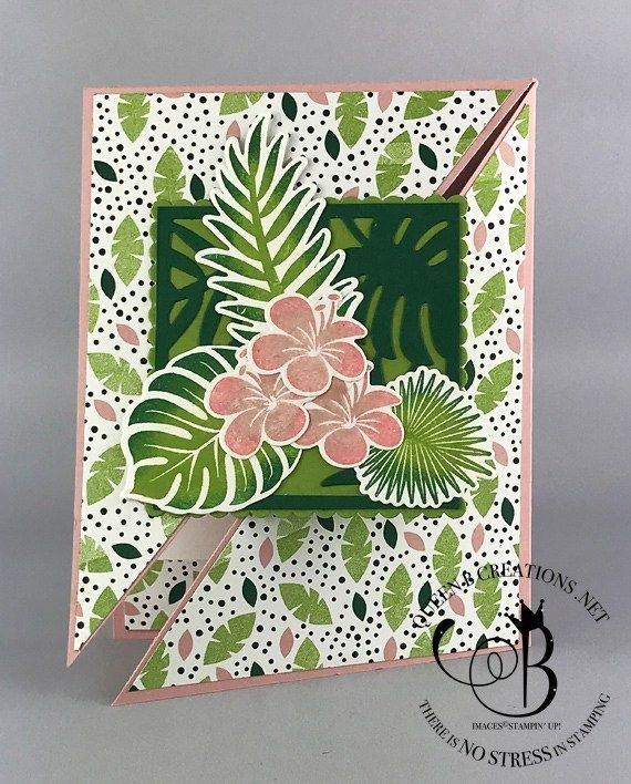 fancy handmade cards tropical chic diagonal gate fold card