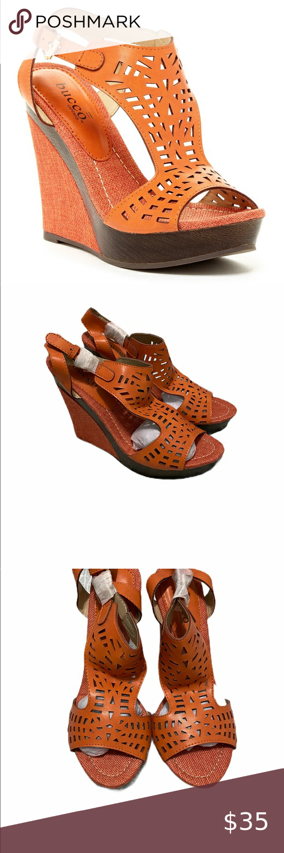 Orange Laser Cut Sandal Wedge