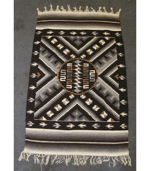 Hand Woven Mexican Rug / Blanket, Geometric And Bird Patterns;