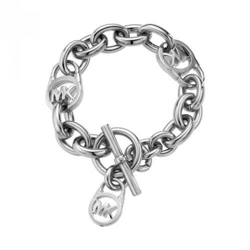 """MICHAEL KORS Armband silber Art.-Nr.: MKJ1101040  Ausdrucksstarkes, poliertes Armband, glänzend, aus massiver Ankerkette und drei """"MK""""-Logos"""