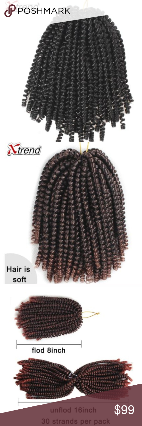 Synthetic Spring Twist Hair Extension Sz 8inches Xtrend Spring Twist Hair Extension Meche Crochet Braid Tresse Crotchet Braids kinky Passion Twist Curly Synthetic 1 to 10 Pcs  30 strands per pc, fold is 8 inch(20cm), unfold is 16 inch(40cm) Accessories Hair Accessories #passiontwistshairstyle