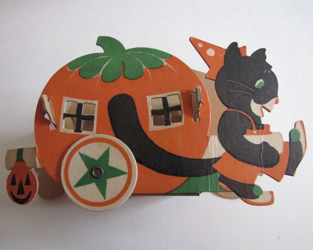 Vintage Halloween Candy Container Cat Pulling Pumpkin