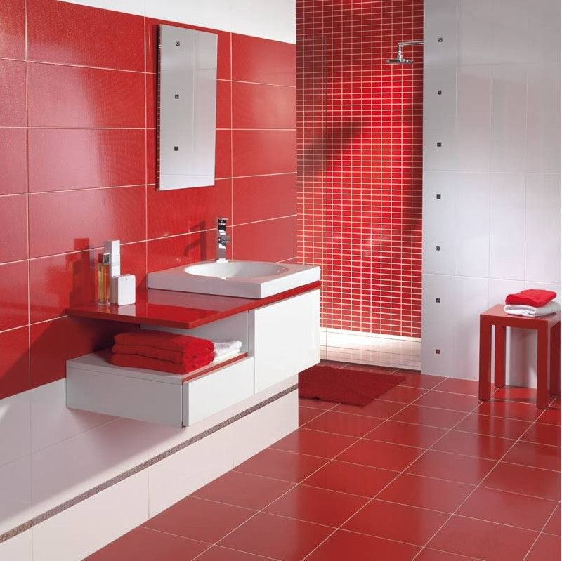 carrelage salle de bain rouge et blanc | Salles de bains rouge ...